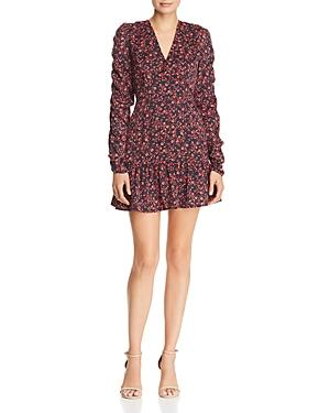 The Fifth Label Archer Floral Print A-line Mini Dress In Navy/pink