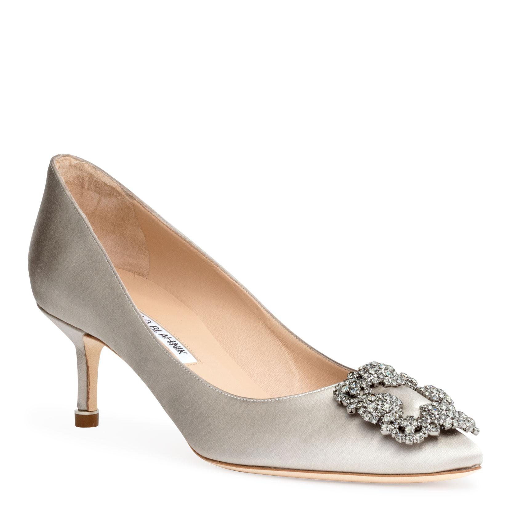 61528e6323d4 Manolo Blahnik Hangisi 50 Satin Silver Grey Pumps