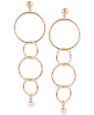 Guess Gold-tone Imitation Pearl Interlocking Circles Linear Drop Earrings In Rose