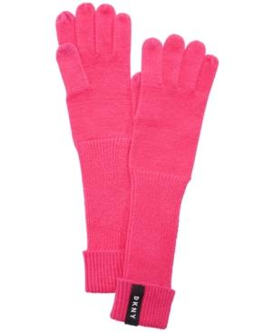 Dkny Ribbed-knit Extended Touch Gloves, Created For Macy's In Raspberry