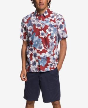 Quiksilver Waterman Men's Rain Flowers Hawaiian Shirt In Rio Red