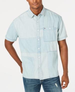 Tommy Hilfiger Denim Men's Kearney Patchwork Denim Pocket Shirt In Light Wash