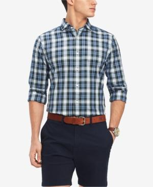 Tommy Hilfiger Men's Mullins Classic Fit Plaid Shirt, Created For Macy's In Peacoat