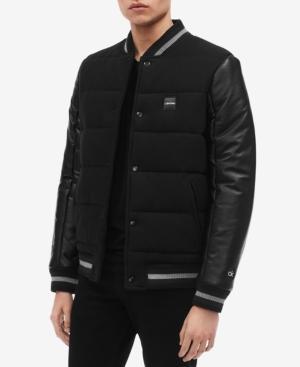 Calvin Klein Men's Mix-media Varsity Jacket In Black