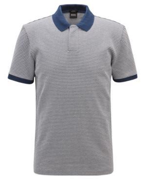 Hugo Boss Boss Men's Slim-fit Micro-pattern Cotton Polo In Dark Navy