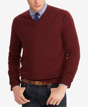e7b009b41 Polo Ralph Lauren Men s Merino Wool V-Neck Sweater In Classic Wine ...