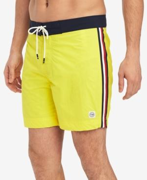 "Tommy Hilfiger Men's Gilbert 5 1/2"" Board Shorts, Created For Macy's In Golden Kiwi"
