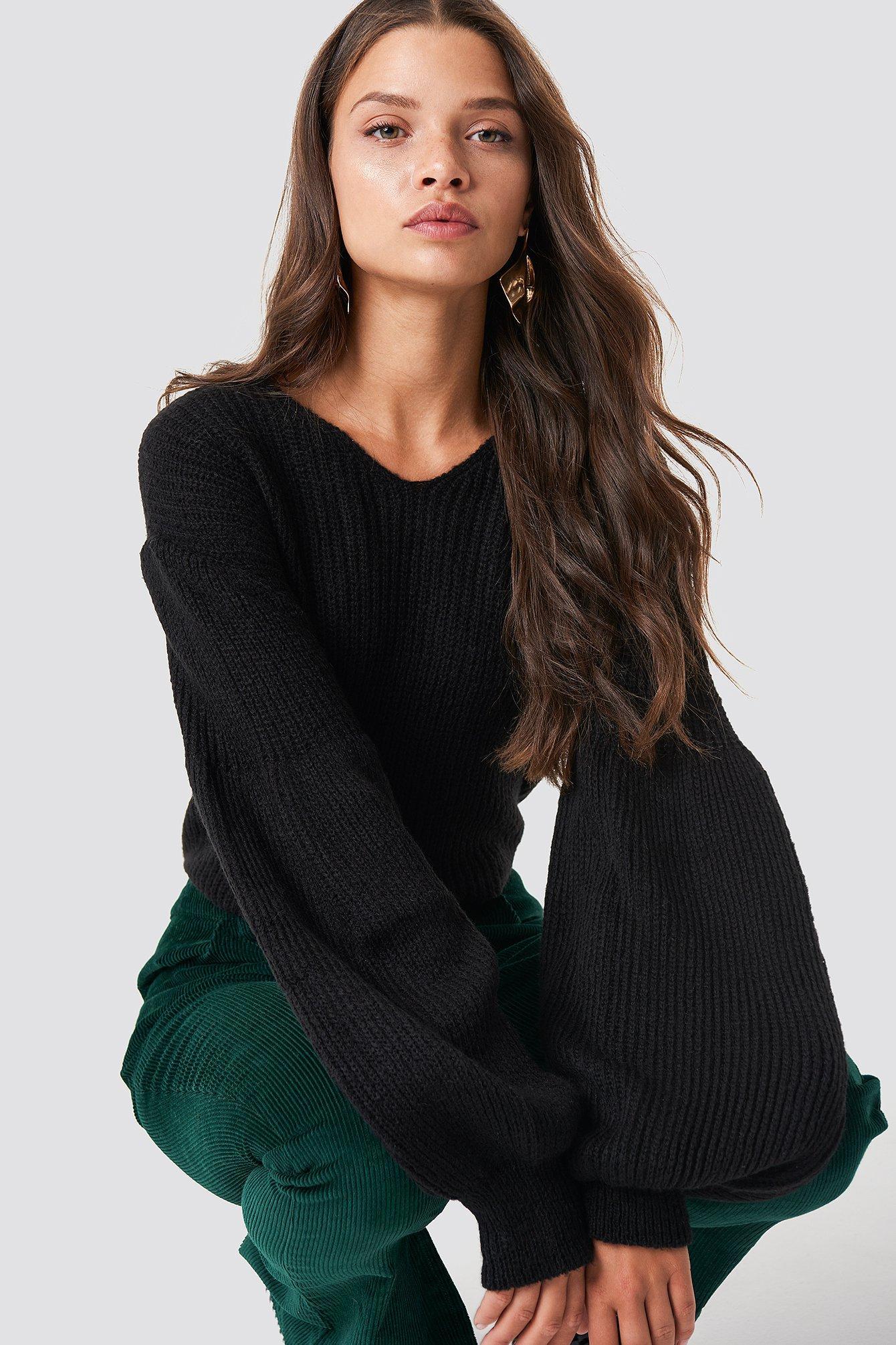 b53f611e239ce V-Neck Balloon Sleeve Sweater - Black