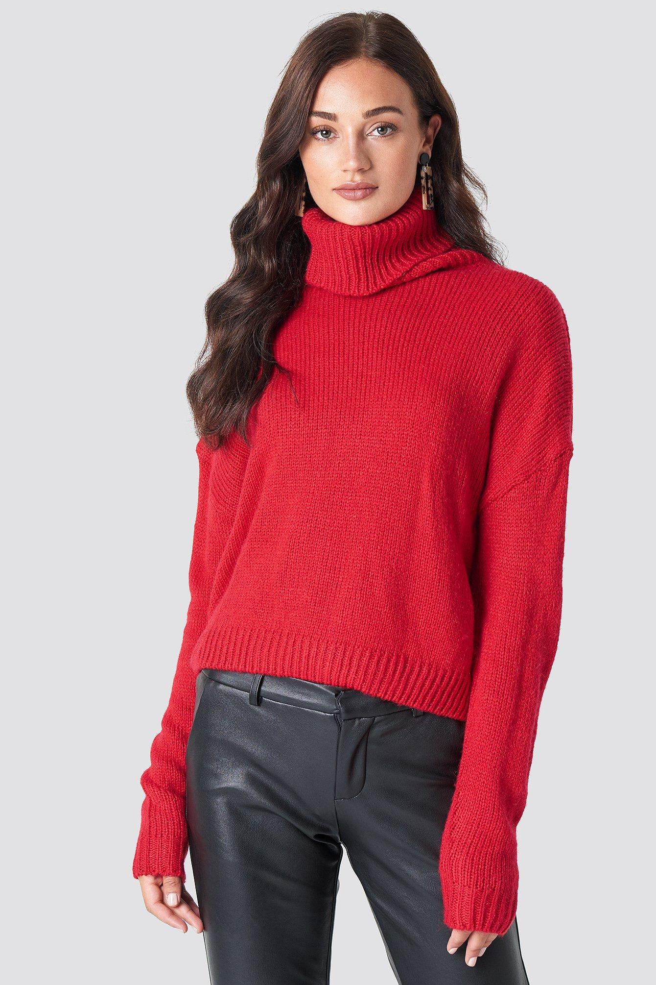 Na-kd Folded Oversize Short Knitted Sweater - Red