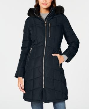Calvin Klein Faux-fur-trim Hooded Puffer Coat In Navy