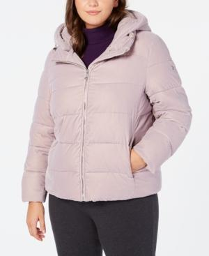 Calvin Klein Plus Size Hooded Puffer Coat In Soft Lilac