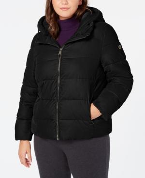 Calvin Klein Plus Size Hooded Puffer Coat In Black
