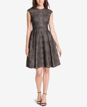 Vince Camuto Printed Fit & Flare Dress In Black Multi