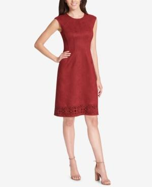 Vince Camuto Cutout Faux-suede Shift Dress In Red