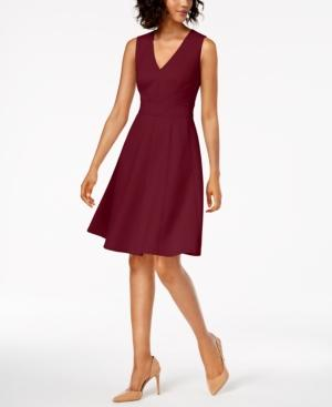 Calvin Klein V-neck Scuba Fit & Flare Dress In Rosewood