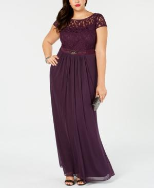 Adrianna Papell Plus Size Lace Illusion Gown In Currant