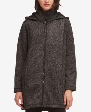 Dkny Hooded Faux-fur-lined Jacket In Black Combo