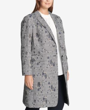 Calvin Klein Plus Size Floral-printed Plaid Double-breasted Jacket In Regatta Multi