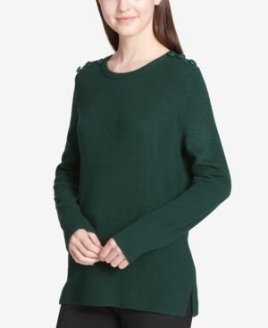 Calvin Klein Button-shoulder Sweater In Malachite