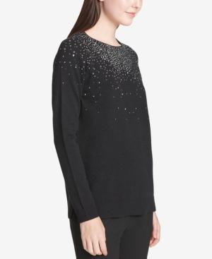 Calvin Klein Crystal-embellished Crewneck Sweater In Black
