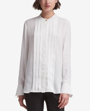 Dkny Split-cuff Blouse, Created For Macy's In Ivory