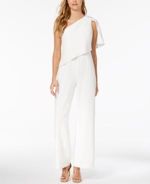 Adrianna Papell Draped One-shoulder Jumpsuit In Ivory
