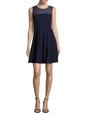 Halston Heritage Sheer-yoke Pleated Dress In Midnight