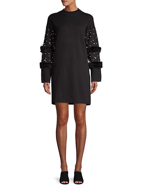 c1ce403e81b6 Allison New York Faux Pearl-Embellished Faux Fur Sweater Dress In Black