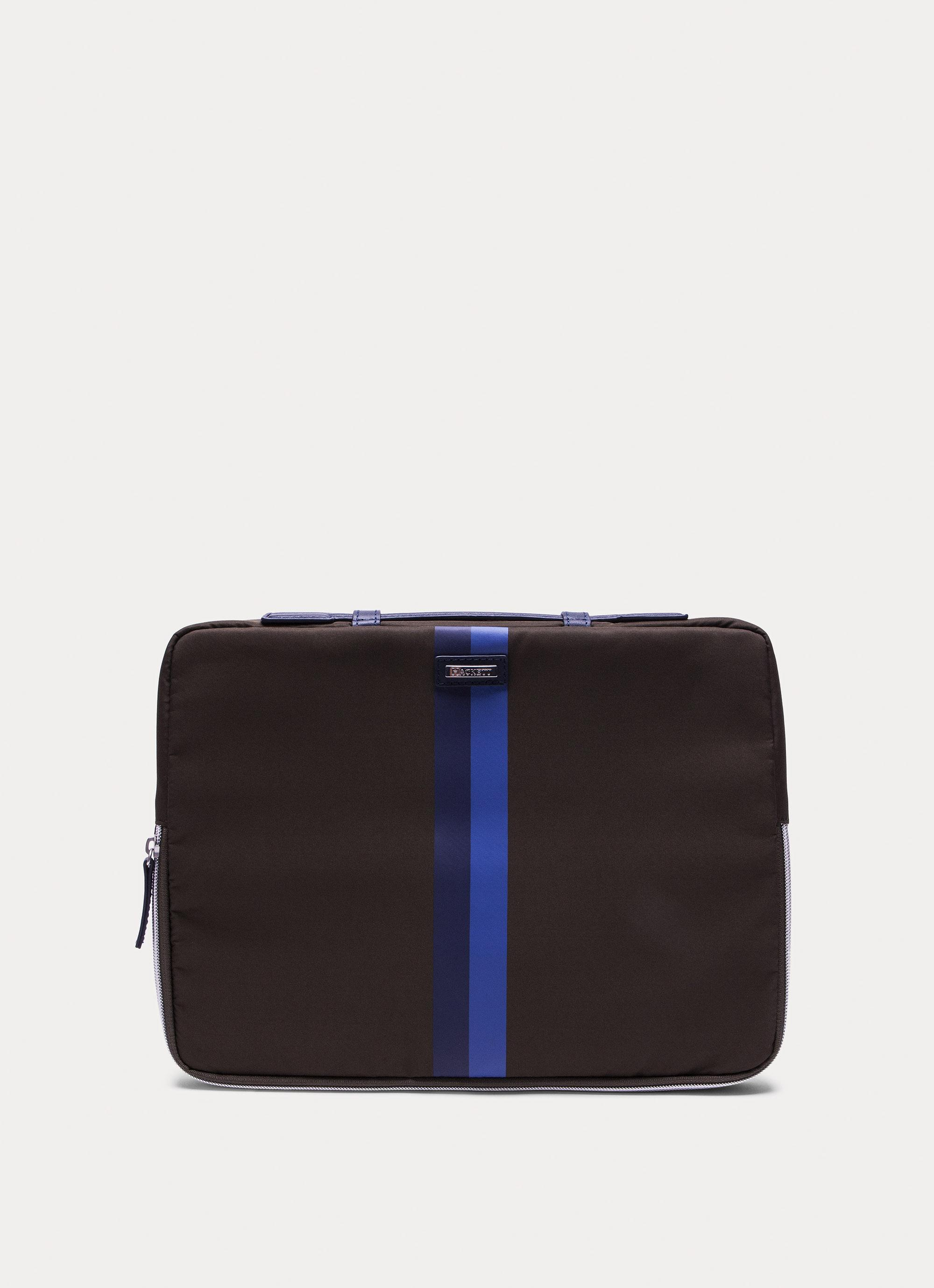 Hackett Accent Stripe Detail Laptop Bag In Dk Green