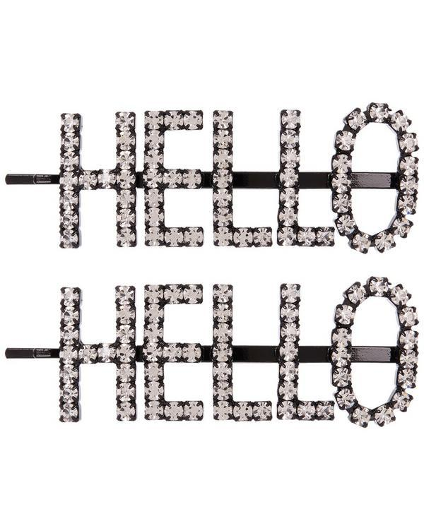 Ashley Williams Hello Hair Pins In Silver