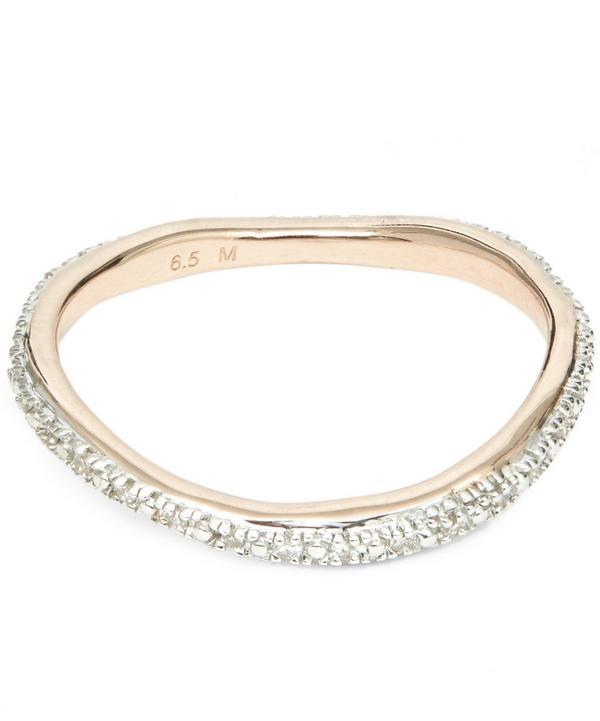 Monica Vinader Rose Gold Vermeil Riva Wave Diamond Eternity Ring