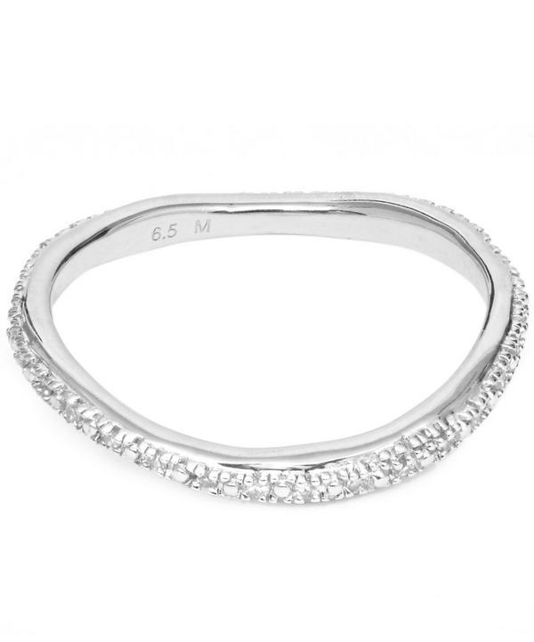 Monica Vinader Silver Riva Wave Diamond Eternity Ring