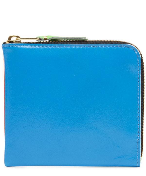 Comme Des Gars Green Contrast Fluorescent Half-zip Wallet In Orange