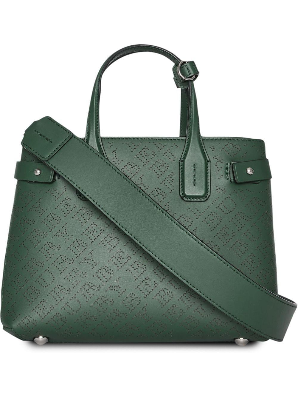 Burberry The Small Banner In Perforated Logo Leather - Green