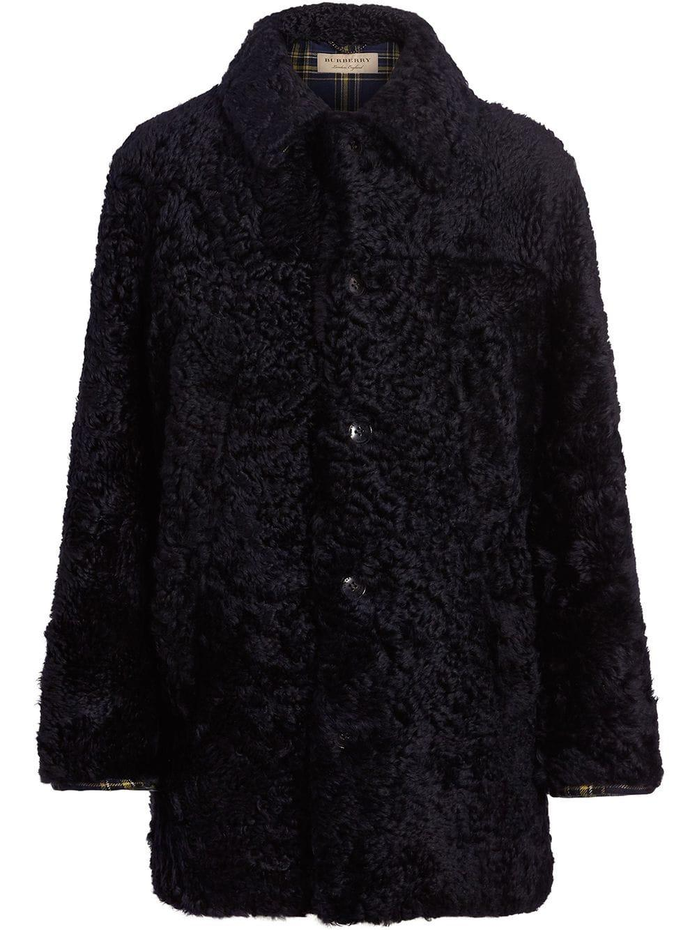 Burberry Curly Shearling Coat - Blue