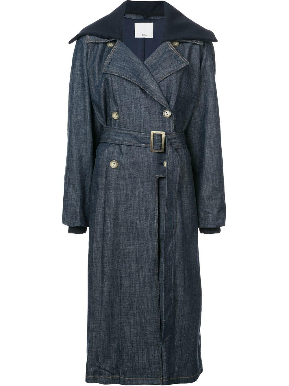 Tibi Belted Denim Trench Coat - Blue