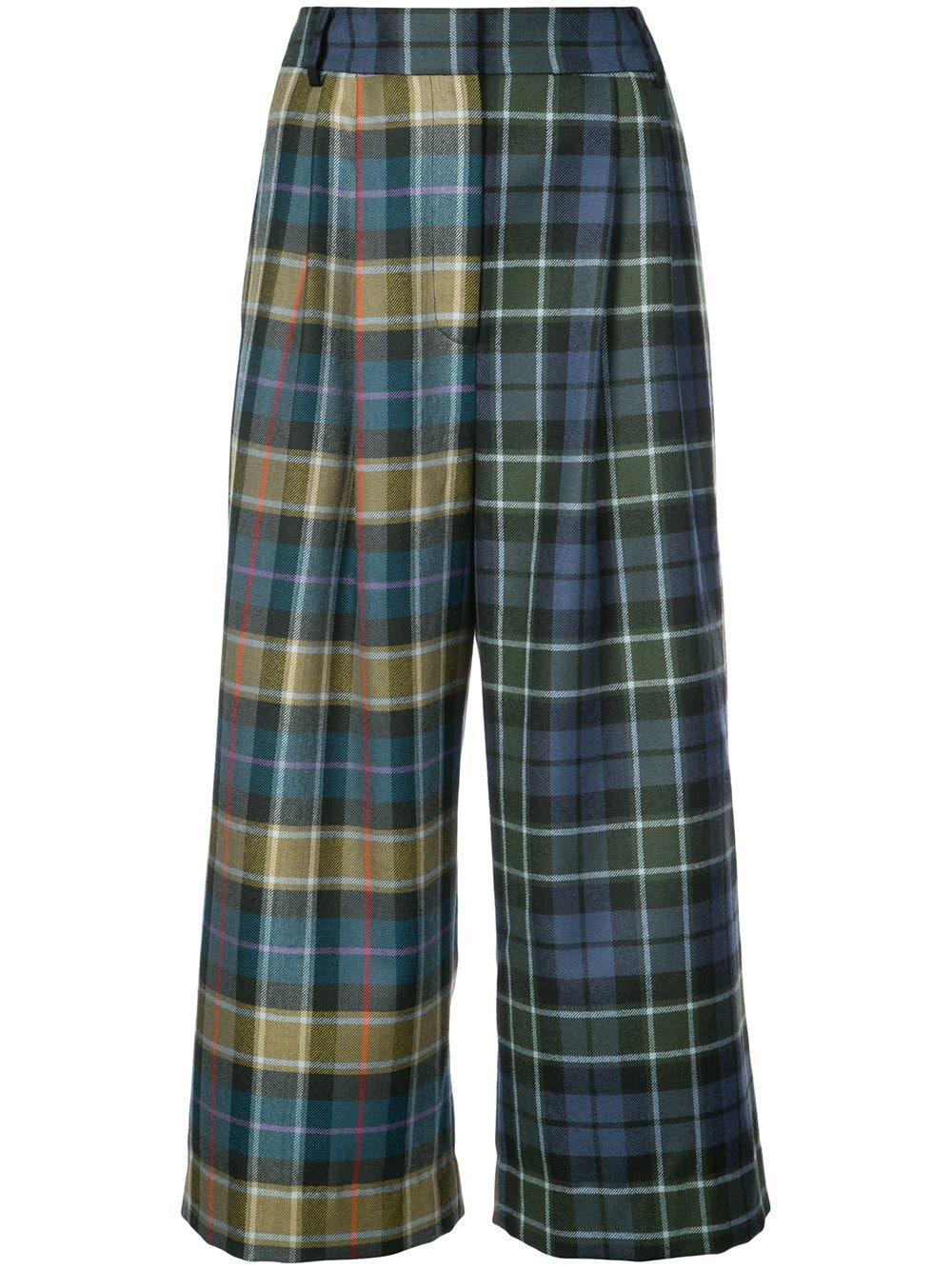 Tibi Tartan Stella Cropped Trousers - Green