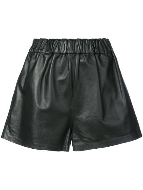 Tibi Tissue Leather Shorts In Black