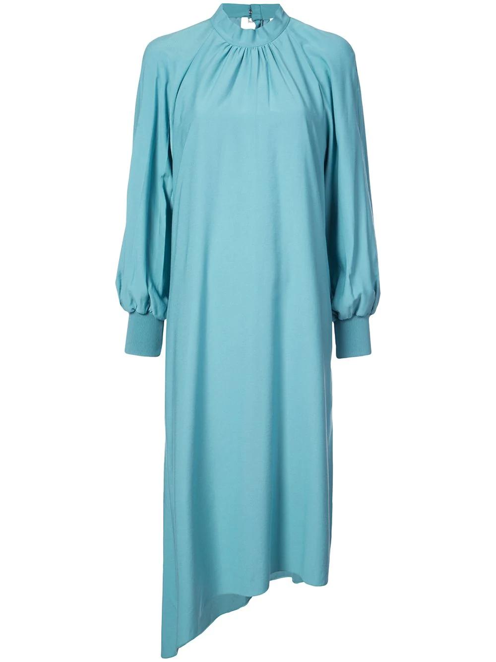 Tibi Buckle Asymmetrical Dress In Blue