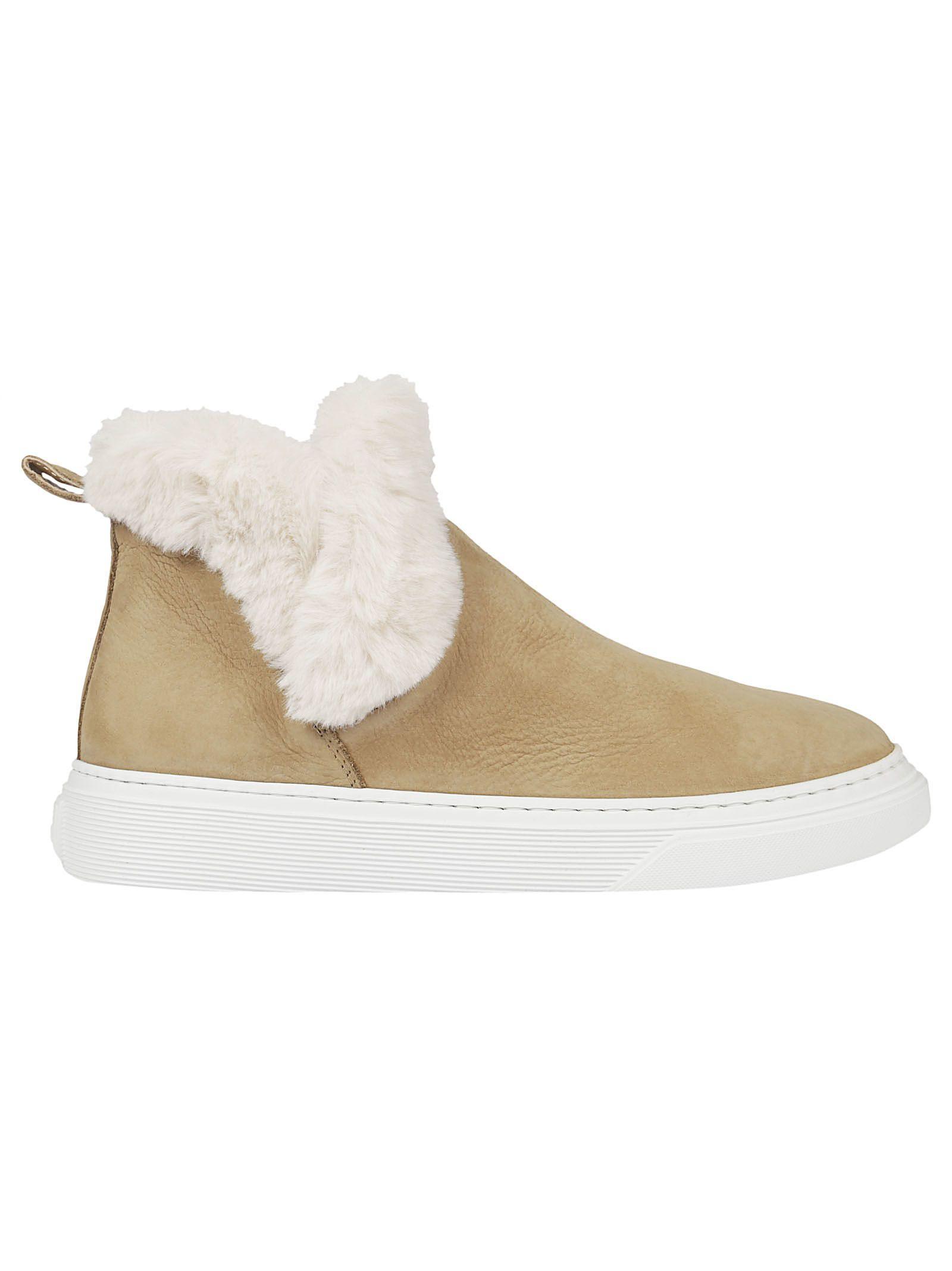 Hogan Wintery Feeling Slip-on Sneakers In Beige