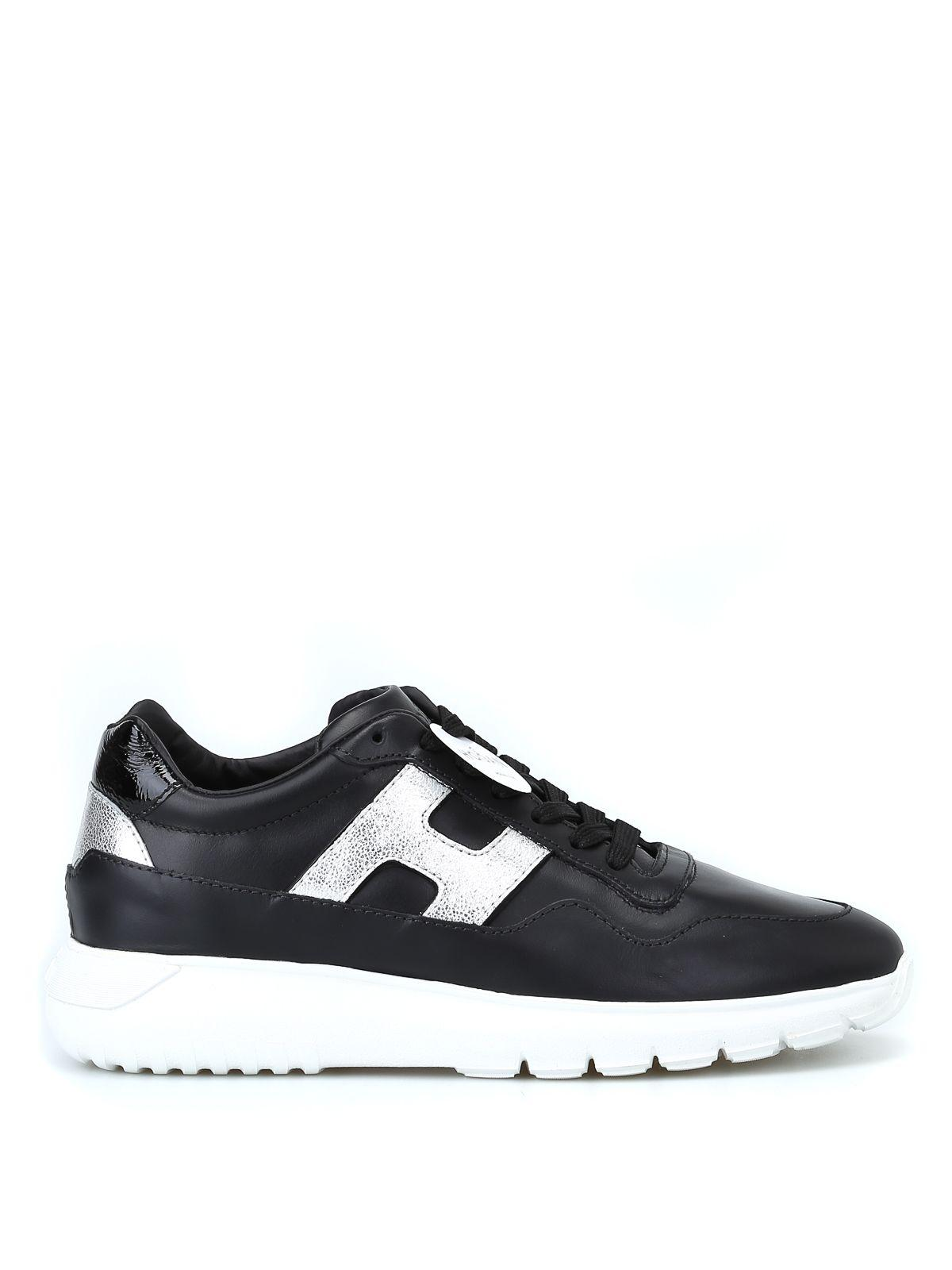 Hogan Laced Shoes In Black/silver