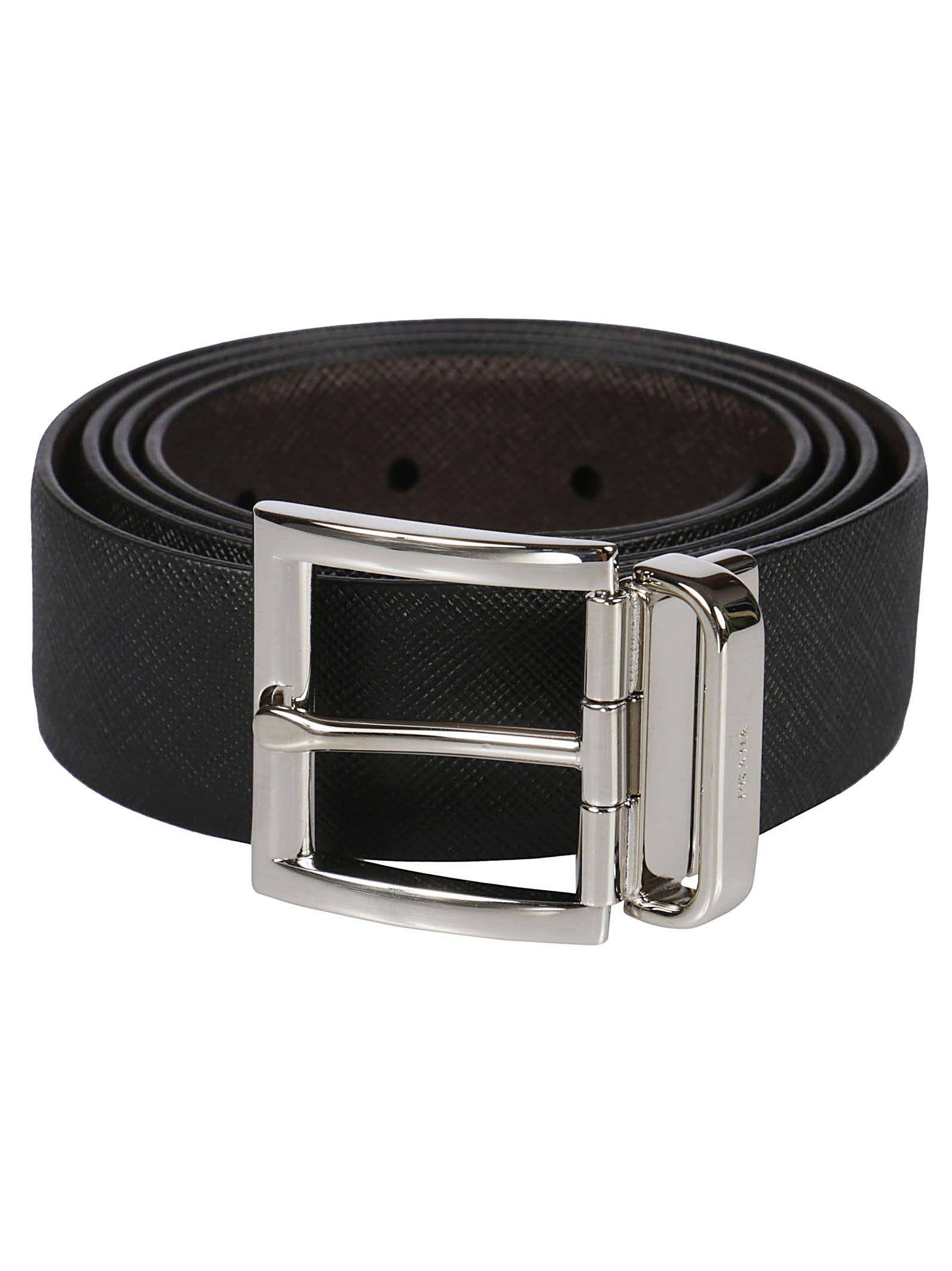 Prada Reversible Saffiano Belt In F0b2a Nero+caffe`