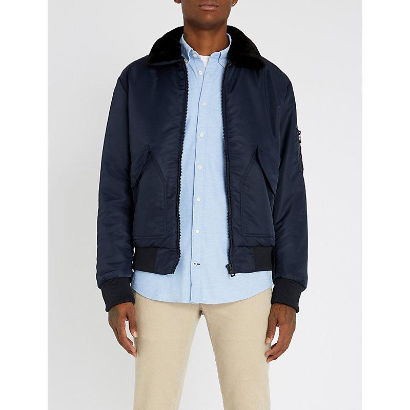 da5244c2d Padded Shell And Faux-Fur Bomber Jacket in 413-Sky Captain