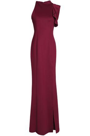 Black Halo Woman Pabla Ruffle-Trimmed Neoprene Gown Plum