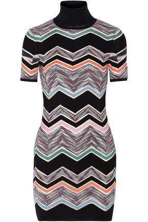 Missoni Woman Crochet-Knit Wool-Blend Turtleneck Mini Dress Black