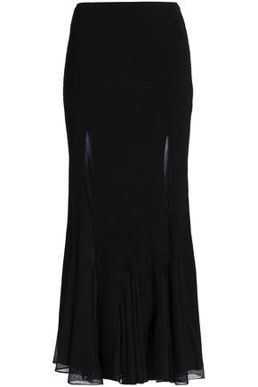 Roberto Cavalli Woman Fluted Ribbed And Stretch-Knit Maxi Skirt Black