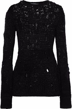 Helmut Lang Woman Distressed Open-knit Wool-blend Sweater Black