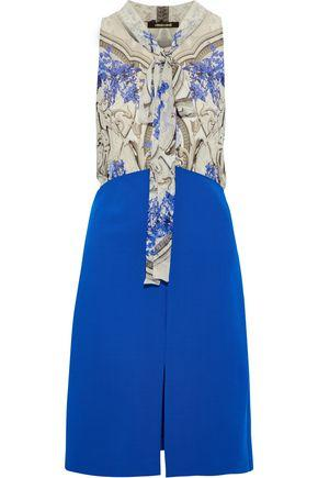 Roberto Cavalli Woman Pussy-Bow Printed Silk-Chiffon And Ponte Dress Blue
