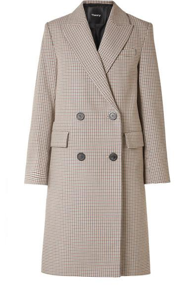 Theory Genesis Double-breasted Houndstooth Cotton And Wool-blend Coat In Beige