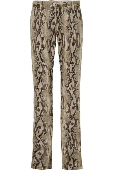 1a84d8baf1e73 Msgm Snake-Effect Faux Leather Straight-Leg Pants In Snake Print ...